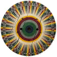 Large Vintage Hand-Painted Game Wheel