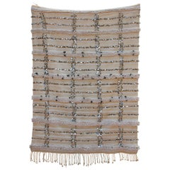 Large Vintage Handcrafted Tribal Moroccan Wedding Blanket Throw with Sequins