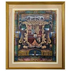 Large Vintage Heraldic Shield with Crown Print