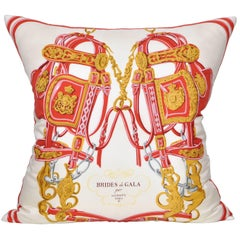 Large Vintage Hermes Red Equestrian Silk Scarf and Irish Linen Cushion Pillow