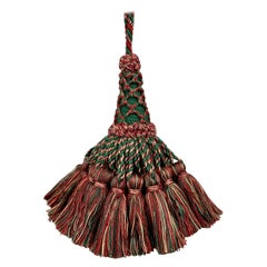 Large Vintage Houlés of Paris Key Tassel in Red and Green