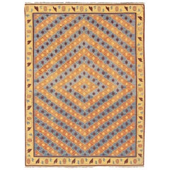 Large Vintage Indian Cotton Dhurrie Flat-Weave Rug with Geometric Diamond Design