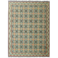 Large Vintage Indian Flat-Weave Cotton Dhurrie Rug from Mid-20th Century