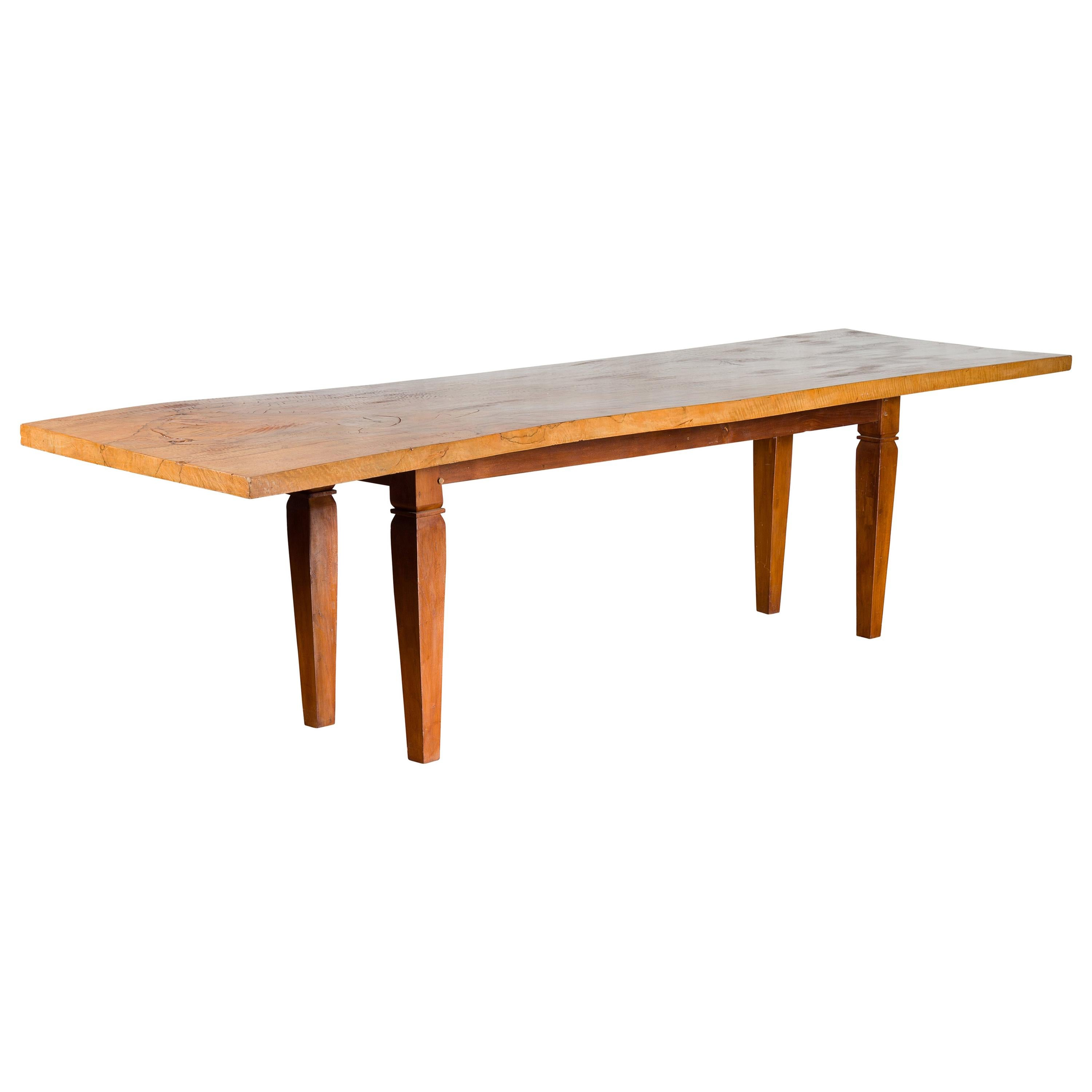 Large Vintage Indonesian Dining Table with Mango Wood Top and Tapered Legs