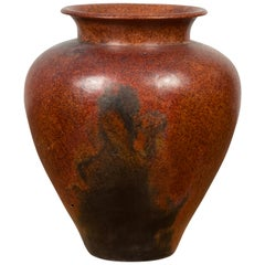 Large Vintage Indonesian Pottery Vase from Madura with Distressed Brown Patina
