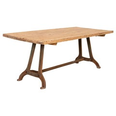 Large Vintage Industrial Farm Table with Iron Legs