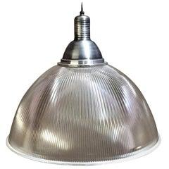Large Vintage Industrial Prismatic Holophane Pendant Lights