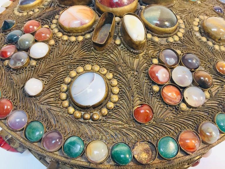 Large Vintage Agate Inlaid Moorish Wedding Jewelry Dressing Box For Sale 3