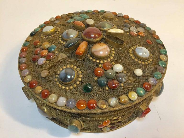 Large Vintage Agate Inlaid Moorish Wedding Jewelry Dressing Box For Sale 4