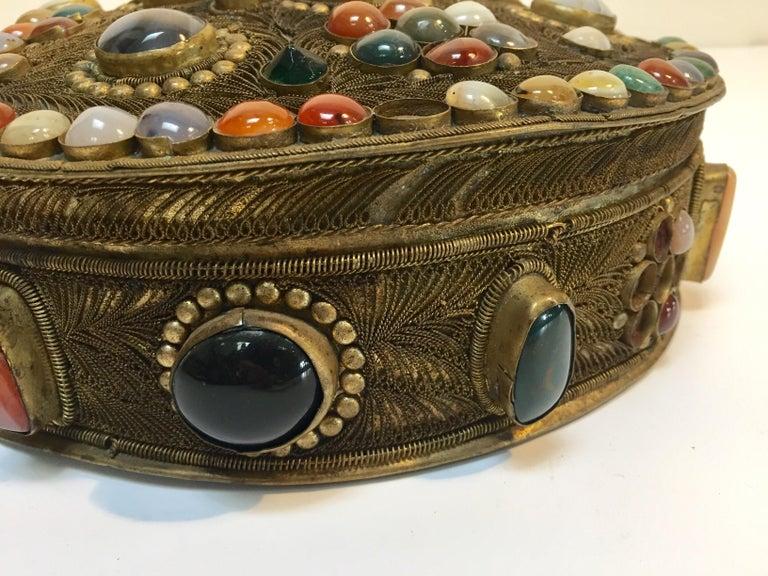 Large Vintage Agate Inlaid Moorish Wedding Jewelry Dressing Box For Sale 5