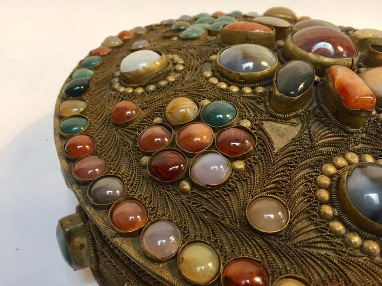 Large Vintage Agate Inlaid Moorish Wedding Jewelry Dressing Box For Sale 6