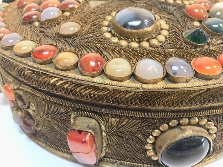 Large Vintage Agate Inlaid Moorish Wedding Jewelry Dressing Box For Sale 9
