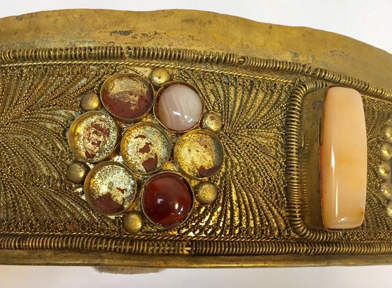 Large Vintage Agate Inlaid Moorish Wedding Jewelry Dressing Box For Sale 10