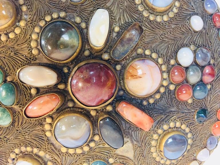 Large Vintage Agate Inlaid Moorish Wedding Jewelry Dressing Box For Sale 12