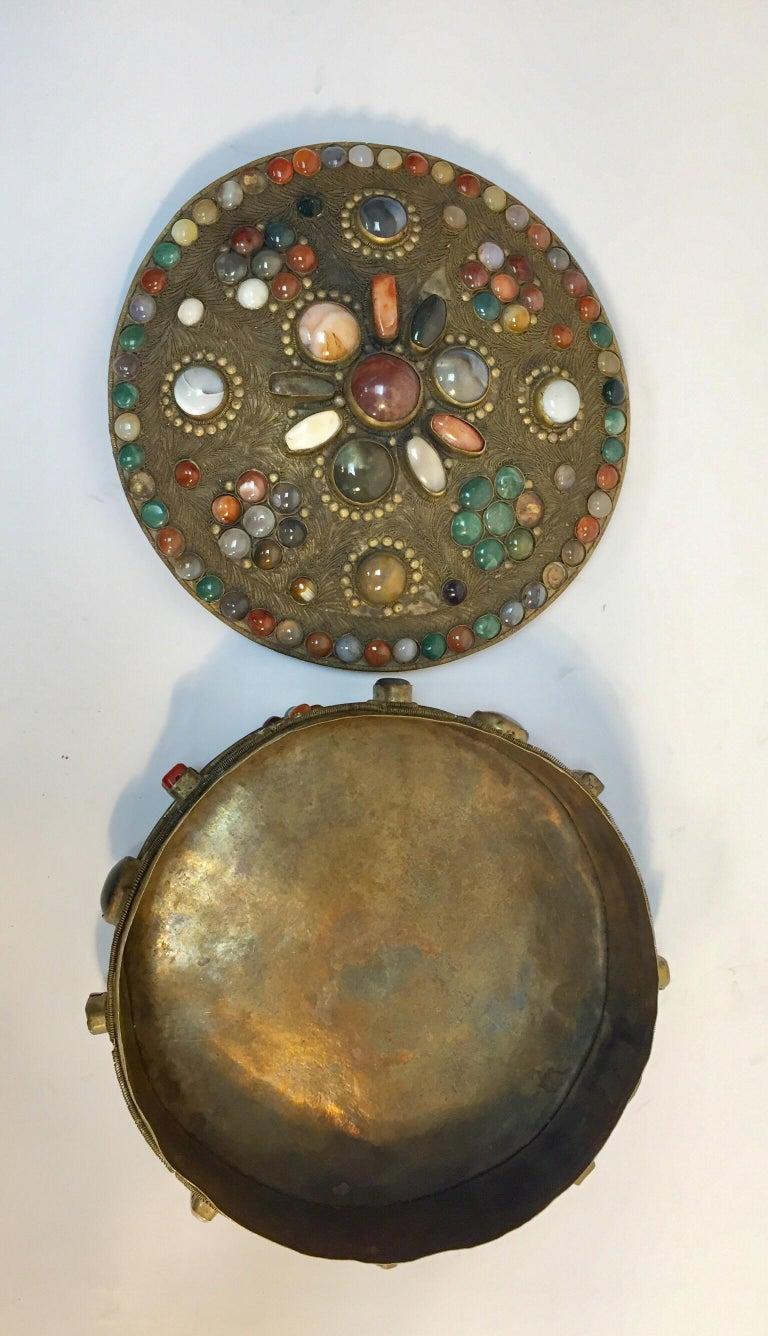 Large Vintage Agate Inlaid Moorish Wedding Jewelry Dressing Box For Sale 13