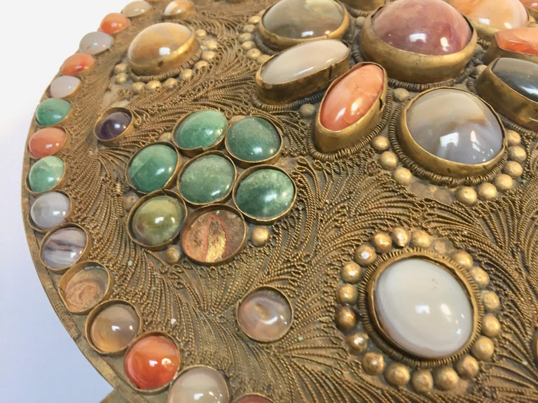 Moroccan Large Vintage Agate Inlaid Moorish Wedding Jewelry Dressing Box For Sale