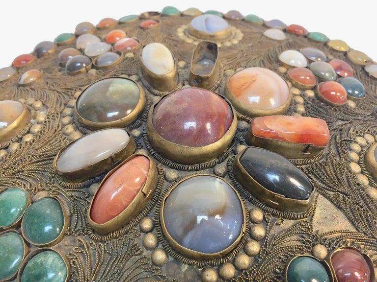 Hammered Large Vintage Agate Inlaid Moorish Wedding Jewelry Dressing Box For Sale
