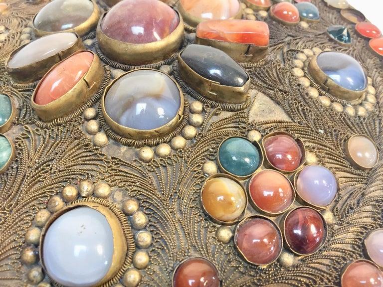 20th Century Large Vintage Agate Inlaid Moorish Wedding Jewelry Dressing Box For Sale
