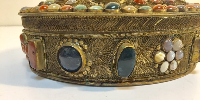 Cot In A Box Morocco Turquoise: Large Vintage Inlaid Moroccan Wedding Jewelry Box For Sale