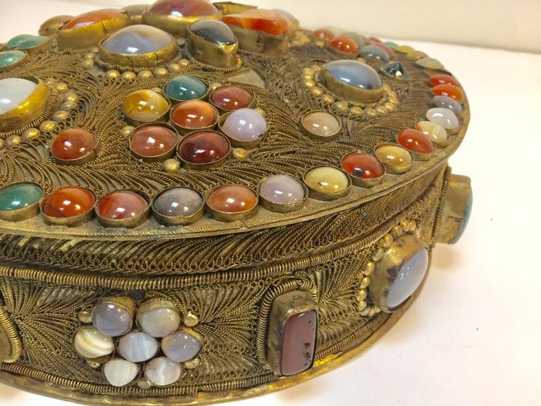 Large Vintage Agate Inlaid Moorish Wedding Jewelry Dressing Box For Sale 1