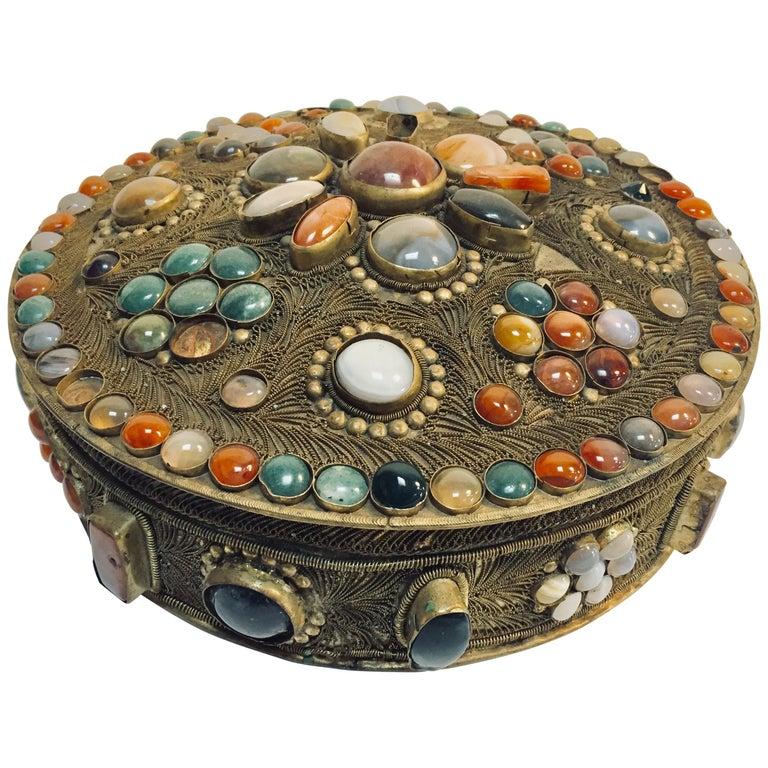 Large Vintage Agate Inlaid Moorish Wedding Jewelry Dressing Box For Sale