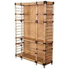 Vintage Italian Bamboo and Brass Étagère with Glass Shelves
