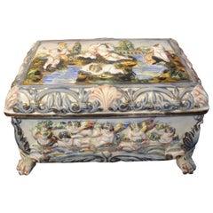 Large Vintage Italian Capodimonte Porcelain Box