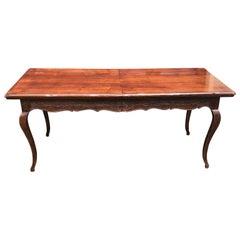 Large Vintage Italian Farm Table With Extra Leaf