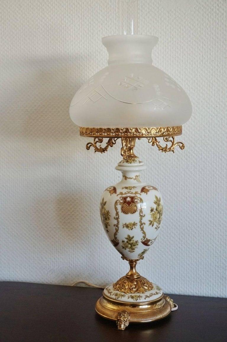 Large Vintage Italian Hand Painted Porcelain Vase Table