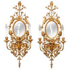 Large Italian Rococo Style Gold Giltwood Mirrored Wall Sconces, circa 1940