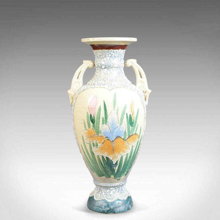 This is a large vintage Japanese baluster vase, a highly decorated oriental ceramic urn dating to the mid-late 20th century.