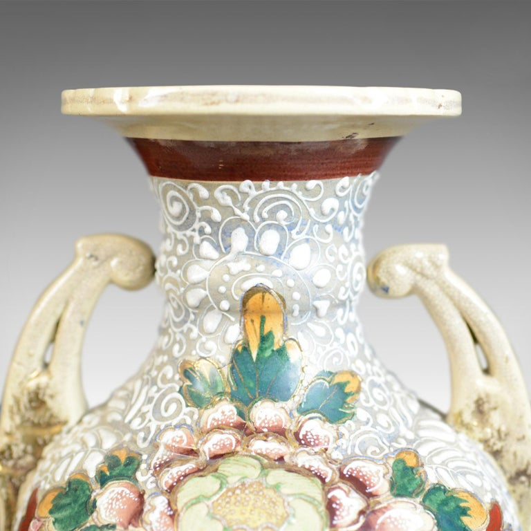 Anglo-Japanese Large, Vintage Japanese Baluster Vase, Ceramic, Urn, Mid-Late 20th Century For Sale