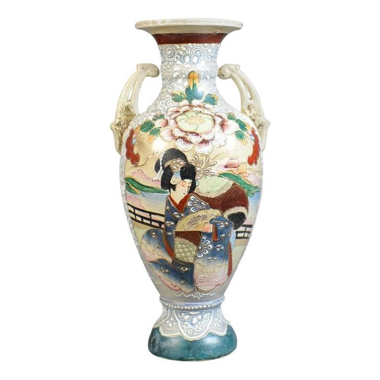 Large, Vintage Japanese Baluster Vase, Ceramic, Urn, Mid-Late 20th Century For Sale
