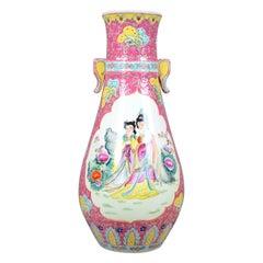 Large, Vintage, Japanese Baluster Vase, Decorative Oriental, Ceramic Urn
