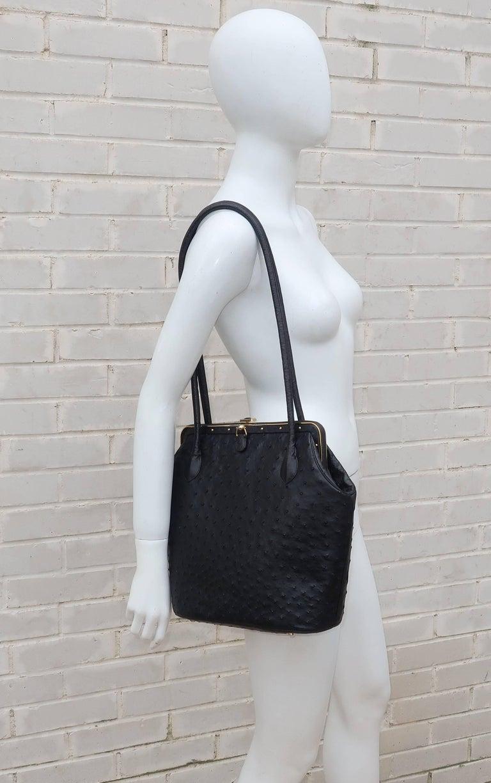 Judith Leiber Large Vintage Black Ostrich Handbag With Gold Studs aSAiU3oh