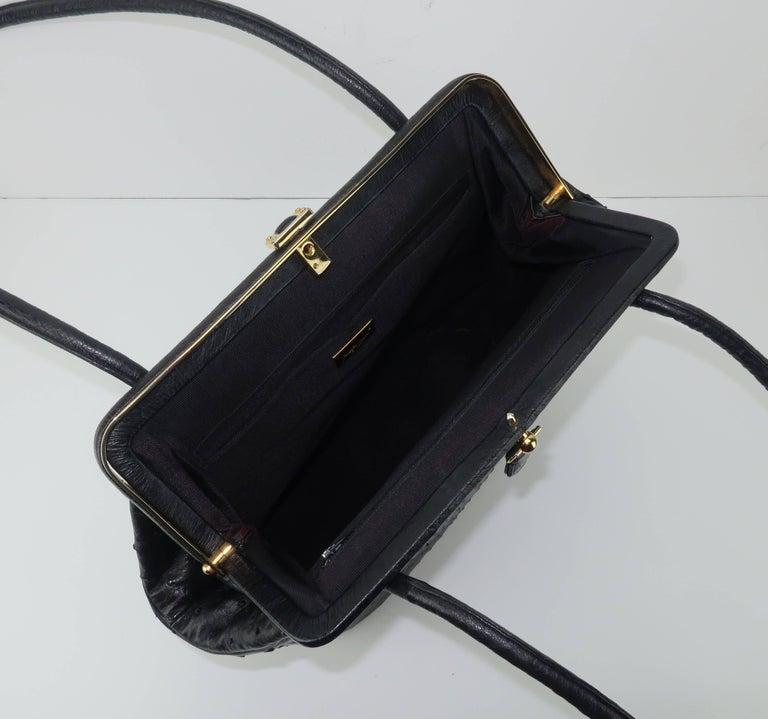 Judith Leiber Large Vintage Black Ostrich Handbag With Gold Studs AciwWIv