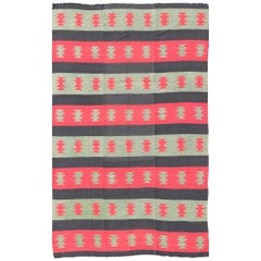 Large Vintage Kilim Rug with Tribal Shapes and Stripes in Red, Brown and Green