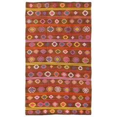 Large Vintage Kilim Rug with Vibrant and Colorful Embroideries in Warm Brown