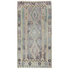 Large Vintage Kilim with Geometric Design in Lavender, Purple, Green and Brown