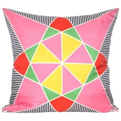 Large Vintage Lanvin Pink Red Green Yellow Silk Geometric Scarf with Irish Linen