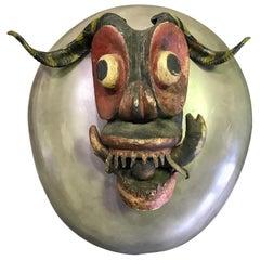 Large Vintage Latin American Hispanic Folk Devil Diablo Folk Mask with Horns