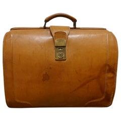 Large Vintage Leather Brief Case, Doctors Bag