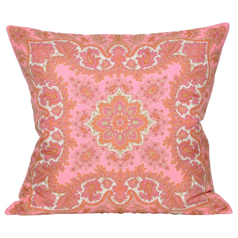 Large Vintage Liberty of London Pink Orange Silk Irish Linen Cushion Pillow