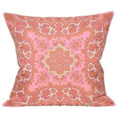 Large Vintage Liberty of London Pink Orange Silk Scarf with Irish Linen Cushion