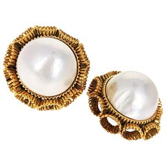 Large Vintage Mabe Pearl and Gold Ear Clips