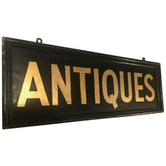 Large Vintage Metal Double Sided Original Hand Painted and Gold Leaf Trade Sign