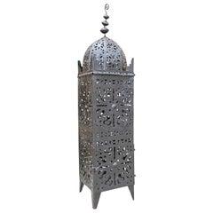 Large Vintage Metal Moroccan Hurricane Candle Lantern
