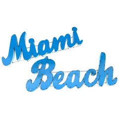 Large Vintage 'Miami Beach' Enamelled Metal Sign