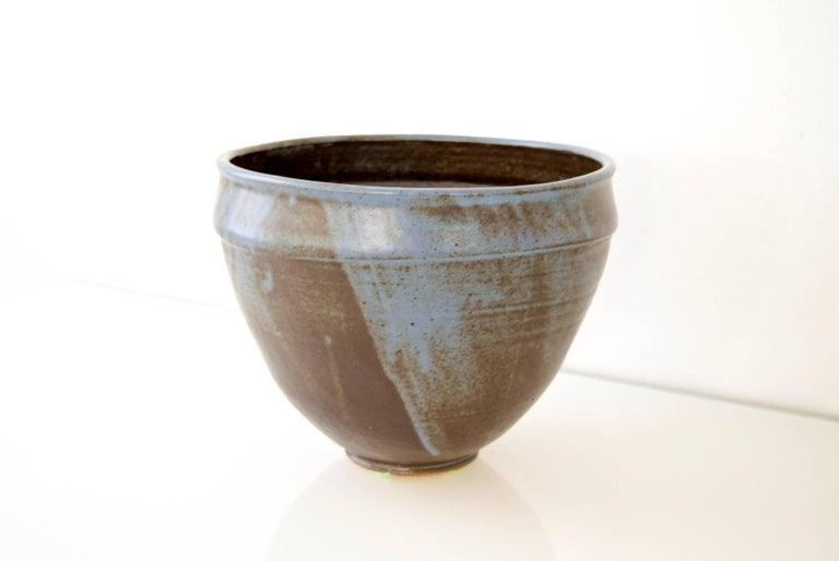 Mid-Century Modern Large Vintage Midcentury Handmade Ceramic Pottery Blue Decorative Bowl, 1960s For Sale