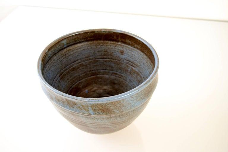 Mid-20th Century Large Vintage Midcentury Handmade Ceramic Pottery Blue Decorative Bowl, 1960s For Sale